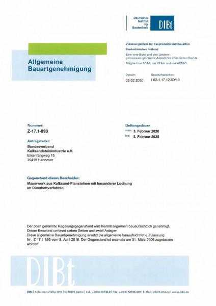Z-17.1-893 | KS-Plansteine mit besonderer Lochung | Dünnbettverfahren