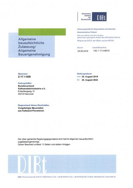 Z-17.1-608 | Vorgefertigte Mauertafeln aus KS-Plansteinen
