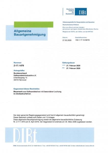 Z-17.1-878 | Kalksandsteine mit besonderer Lochung | Dickbettverfahren