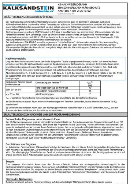 KS-Nachweisprogramm | Sommerlicher Wärmeschutz